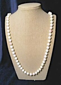 """Genuine 10 mm Pink Mother of Pearl Necklace, 32"""", Natural Color"""