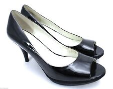 Nine West Soriee Shoes Black Patent Open Toe Platform 3 Inch Heels 9 M Women