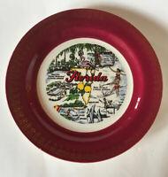 Homer Laughlin Vintage Florida Souvenir  Collectible Plate Flamingo Water Skier
