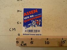 STICKER,DECAL ASSEN IJSSPEEDWAY  1990 WK 90 ASSEN 3/4-3-1990 A