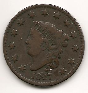 1827 Coronet Head Large Cent ... Tough Date