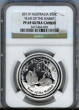 2011 - 1/2 ounce PROOF - AUSTRALIA SILVER RABBIT $1  NGC PF69 UCAM