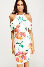 White Floral Cold Shoulder Body Con Scuba type material Dress UK12 EU40 BNWT