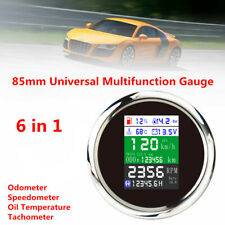 85mm Multi-function Gauge Car Marine GPS Speed Odometer Tacho Oil Temp Pressure