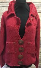 PURE Hand Knit Sweater Cardigan Cotton  Cable Knit Size Small/ Medium Red