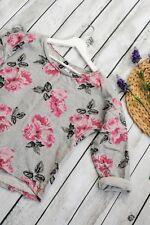 WOMEN H&M BLOUSE CROP FLORAL GREY PINK FLOWERS SIZE XS