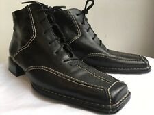 GABOR Black Leather Lace Up Boots. Size 6.5