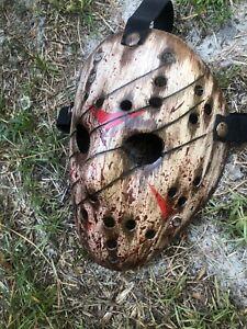 Jason voorhees wooden slashed splatter mask custom hand painted made to order