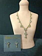 Cookie Lee Signed Genuine Crystal Gold Tone Necklace w/ Earrings