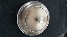 Crystal Powder Jar With Sterling Silver Mirrored Lid