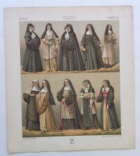 Costumes Religieuses France Chromolithographie originale RACINET 1888