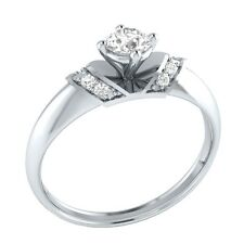 Demira Jewels Wedding & Engagement Natural White Topaz Silver Diamond Ring