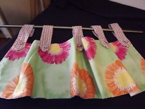 TOMMY HILFIGER lined tab top VALANCE GERBER DAISY W/ PLAID PINK GREEN ORANGE