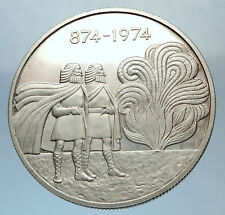 1974 ICELAND with FOUR SPIRITS & VIKINGS Antique Silver 1000 Kronor Coin i71382