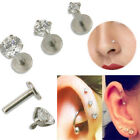 16G Gem Round Tragus Lip Ring Monroe Ear Stud Earring Body Cartilage Piercing