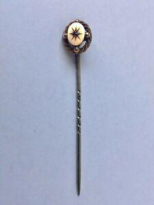 Antique 9K Gold Head Tie Pin with Garnet Stone