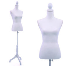 Female Mannequin Torso Clothing Dress Form Display w/ White Tripod Stand