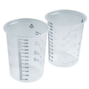 Clear Plastic Calibrated Measuring Polypropylene Paint Mixing 600cc 1-100 Cups