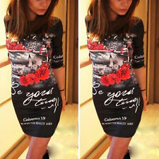 Summer Womens Casual Mini Dress Cocktail Party Club Slim Pencil Bodycon Sundress
