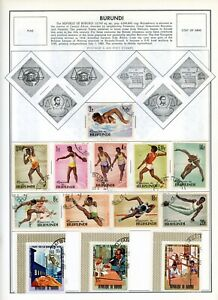 BURUNDI--Lot of 88 different stamps mounted on Pages