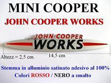 MINI COOPER S JCW ONE Jonh Cooper Works Stemma Badge Fregio ALLUMINIO SATINATO