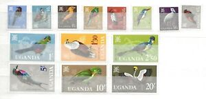 UGANDA 1965 BIRDS DEFINITIVES SET (14) MM CAT £42