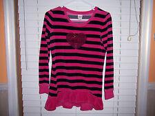 Circo Long-Sleeve Tunic Shirt Girl's Size XL 14/16 Black/Pink W/Sparkly Heart