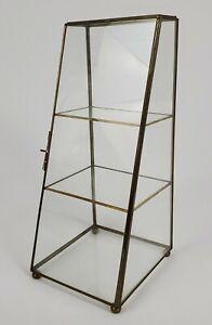 Vintage Glass Brass Curio Display Stand Shelf Etagere Hollywood Regency Large
