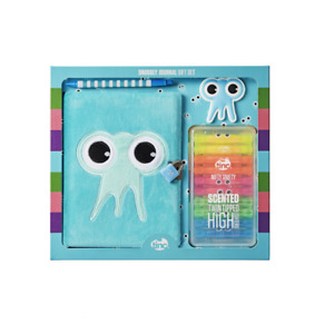 School Stationery Gift Set Journal, Highlighters, Pens, Erasers - Blue