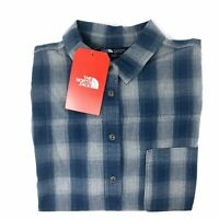 The North Face Women's Size XL Blue Plaid Button Front Shirt Short Sleeve NEW