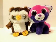 """Wild Republic Plush Pink Purple Kitty Cat and Brown White Owl 6"""" Lot of 2"""