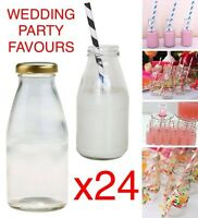 24x 250ml Glass MINI MILK VINTAGE Bottles PARTY PACK WEDDING RECEPTION FAVOURS