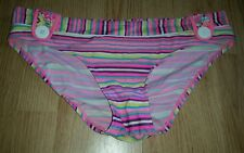 Gorgous pink multi coloured striped DEBENHAMS bikini bottoms size 10