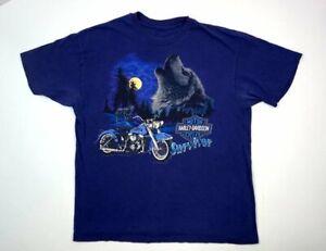 VTG 1993 Harley-Davidson Medium Survivor Wolf Purple T-Shirt Decatur, Ill