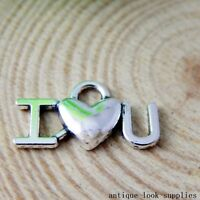 "Vintage Silver Alloy ""I Love You"" Shape Pendants Charms Craft Finding 100x 50887"