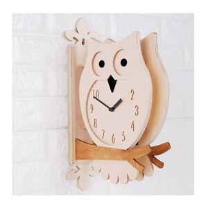 Modern Art 3D Owl Design Wood Double Sided Wall Clock Station Clock Home Decor
