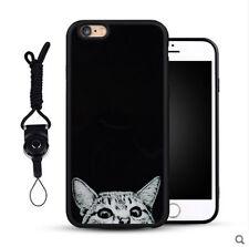 Iphone6 6s Silicone Rubber Soft Skin Necklace Strap Case Black White Cat