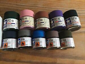 Tamiya Color Polycarbonate Acrylic Model Paint Bundle New Old Stock 10 Pots New
