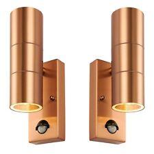 Saxby Palin Modern Copper Light Outdoor Up/down PIR Sensor Wall Lamp Gu10 Ip44