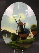 """Antique Reverse Painting On Convex Glass """"Summer In Holland"""" Unframed"""