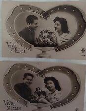 2 Cartes postales dite bromure - couple - fers à cheval / enclume