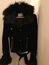 Iceberg Black Hooded Real Fox Fur-Trim Velvet Women's Jacket Size Xs/40