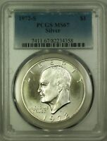 """1972-S Eisenhower """"Ike"""" One Dollar Silver Coin $1 PCGS MS-67 (B)"""