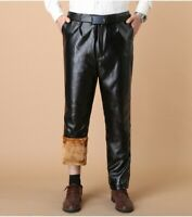 Mens Leather Pants Trousers Black Motorcycle Thickened Fur Lining Waterproof New