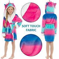 Kids Girls Unicorn Hooded Shimmer Fleece Robe Dressing Gown Luxury Hood Bathrobe