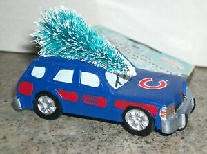 CHICAGO CUBS STATION WAGON ORNAMENT WITH CHRISTMAS TREE