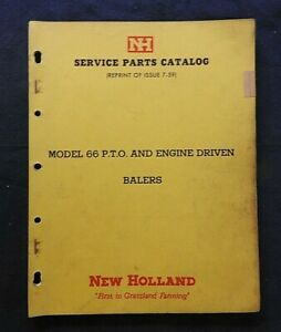 "1959 NEW HOLLAND ""MODEL 66 PTO & ENGINE DRIVEN BALER"" PARTS CATALOG MANUAL NICE"