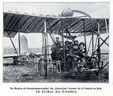 "Aeroplan ""Luftomnibus"" Sommers mit 10 Personen an Bord 1911"