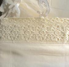 "10cm Lace Elegant Ivory Beige Queen Bed Sheet Set Shabby French Chic 15"" Pocket"