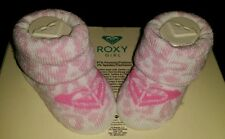 CUTE PAIR OF ROXY GIRL BABY INFANT GIRL'S BOOTIES WHITE & LIGHT PINK  0-6MONTHS